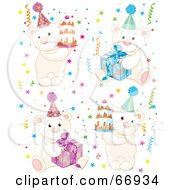 Royalty Free RF Clipart Illustration Of A Digital Collage Of Birthday Polar Bears With Cakes Presents And Confetti