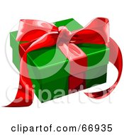 Royalty Free RF Clipart Illustration Of A Green Gift Box Adorned With Red Ribbons And A Bow