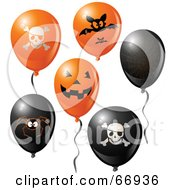 Royalty Free RF Clipart Illustration Of A Digital Collage Of Halloween Party Balloons