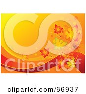 Royalty Free RF Clipart Illustration Of A Gradient Orange Autumn Leaf Background With Red Swooshes