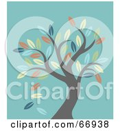 Royalty Free RF Clipart Illustration Of A Leafy Autumn Tree Over Turquoise