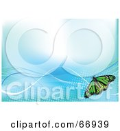 Royalty Free RF Clipart Illustration Of A Blue Background With Waves And A Green Butterfly