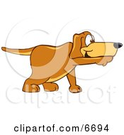 Brown Dog Mascot Cartoon Character Pointing While Sniffing Something Out Clipart Picture