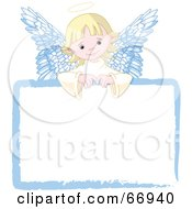Royalty Free RF Clipart Illustration Of A Sweet Blond Angel Girl Looking Over A Blank Sign by Pushkin