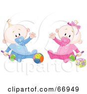 Royalty Free RF Clipart Illustration Of A Baby Boy And Girl Waving And Playing With Toys