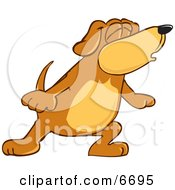 Brown Dog Mascot Cartoon Character With Closed Eyes Singing Or Howling