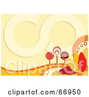Royalty Free RF Clipart Illustration Of A Faint Orange Autumn Background With Retro Styled Trees And Colorful Leaves