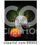 Royalty Free RF Clipart Illustration Of A Black Kitten And A Pumpkin By A Tombstone by Pushkin