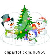 Royalty Free RF Clipart Illustration Of A Snowman Family Decorating Their Christmas Tree by Pushkin