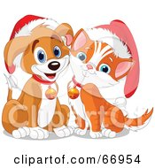 Royalty Free RF Clipart Illustration Of A Cute Puppy And Kitten Wearing Santa Hats And Bells
