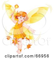 Royalty Free RF Clipart Illustration Of An Autumn Fairy Child Stirring Up Leaves In A Breeze