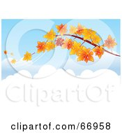 Royalty Free RF Clipart Illustration Of A Tree Branch With Orange Autumn Leaves Falling Off In The Breeze by Pushkin