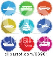 Royalty Free RF Clipart Illustration Of A Digital Collage Of Round Colorful Transport Buttons by Prawny