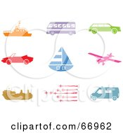 Royalty Free RF Clipart Illustration Of A Digital Collage Of Colorful Transport Icons by Prawny