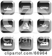 Royalty Free RF Clipart Illustration Of A Digital Collage Of Square Chrome Transport Buttons by Prawny