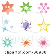 Royalty Free RF Clipart Illustration Of A Digital Collage Of Colorful Star Icons