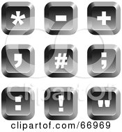 Royalty Free RF Clipart Illustration Of A Digital Collage Of Square Chrome Symbol Buttons Version 2