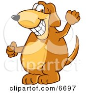 Brown Dog Mascot Cartoon Character Grinning Clipart Picture by Toons4Biz