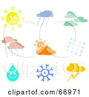 Royalty Free RF Clipart Illustration Of A Digital Collage Of Colorful Weather Icons by Prawny