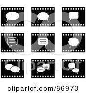 Royalty Free RF Clipart Illustration Of A Digital Collage Of Black And White Film Strip Chat Box Buttons