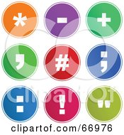 Royalty Free RF Clipart Illustration Of A Digital Collage Of Round Colorful Symbol Buttons Version 1