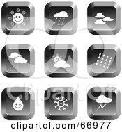 Royalty Free RF Clipart Illustration Of A Digital Collage Of Square Chrome Weather Buttons by Prawny