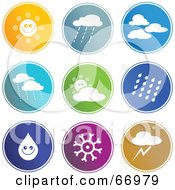Royalty Free RF Clipart Illustration Of A Digital Collage Of Round Colorful Weather Buttons by Prawny