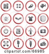 Royalty Free RF Clipart Illustration Of A Digital Collage Of Red Gray And White Rounded Buttons Version 4 by Prawny