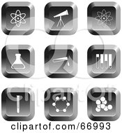 Royalty Free RF Clipart Illustration Of A Digital Collage Of Square Chrome Science Buttons by Prawny