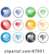 Royalty Free RF Clipart Illustration Of A Digital Collage Of Rounded Patriotic Heart Buttons