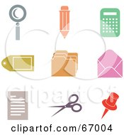 Royalty Free RF Clipart Illustration Of A Digital Collage Of Colorful Office Icons by Prawny