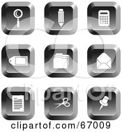 Royalty Free RF Clipart Illustration Of A Digital Collage Of Square Chrome Office Buttons by Prawny