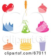 Royalty Free RF Clipart Illustration Of A Digital Collage Of Colorful Party Icons by Prawny