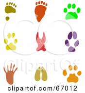 Royalty Free RF Clipart Illustration Of A Digital Collage Of Colorful Paw Print Icons by Prawny