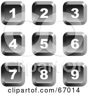 Royalty Free RF Clipart Illustration Of A Digital Collage Of Square Chrome Number Buttons