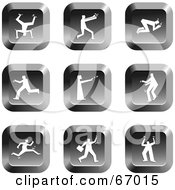 Royalty Free RF Clipart Illustration Of A Digital Collage Of Square Chrome People Buttons by Prawny