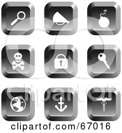 Royalty Free RF Clipart Illustration Of A Digital Collage Of Square Chrome Misc Buttons