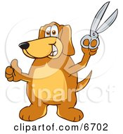 Brown Dog Mascot Cartoon Character Holding A Pair Of Scissors