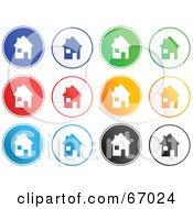 Royalty Free RF Clipart Illustration Of A Digital Collage Of Round Colorful House Buttons