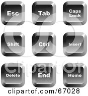 Royalty Free RF Clipart Illustration Of A Digital Collage Of Square Chrome Computer Keyboard Buttons