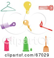 Royalty Free RF Clipart Illustration Of A Digital Collage Of Colorful Household Icons