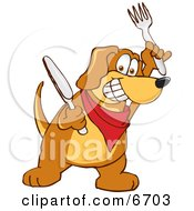 Brown Dog Mascot Cartoon Character Holding A Knife And Fork Extremely Hungry