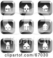 Royalty Free RF Clipart Illustration Of A Digital Collage Of Square Chrome House Buttons
