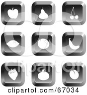 Royalty Free RF Clipart Illustration Of A Digital Collage Of Square Chrome Fruit Buttons by Prawny
