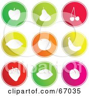 Royalty Free RF Clipart Illustration Of A Digital Collage Of Round Fruit Buttons by Prawny