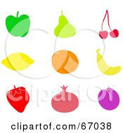 Royalty Free RF Clipart Illustration Of A Digital Collage Of Colorful Fruit Icons by Prawny