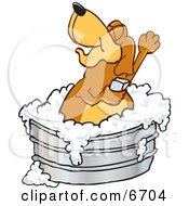 Brown Dog Mascot Cartoon Character Bathing In A Metal Tub