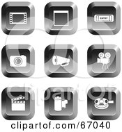 Royalty Free RF Clipart Illustration Of A Digital Collage Of Square Chrome Film Industry Buttons by Prawny