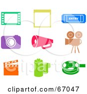 Royalty Free RF Clipart Illustration Of A Digital Collage Of Colorful Film Industry Icons by Prawny