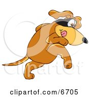 Brown Dog Mascot Cartoon Character With A Mask Over His Eyes Being Sneaky